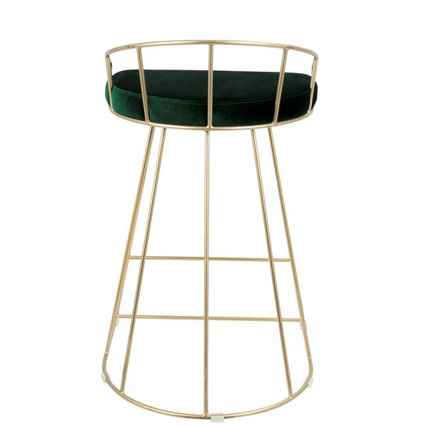 Lumisource Green Velvet Canary Counter Stool (Set of 2)