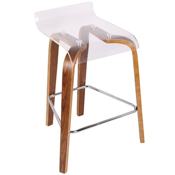 Lumisource Clear Acrylic and Walnut Clarity Counter Stool