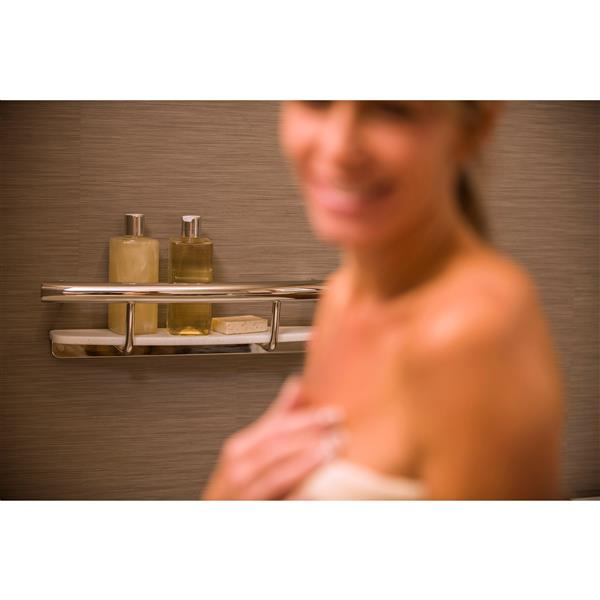 Invisia Collection Polished Chrome Designer Grab Bar with Integrated Shelf