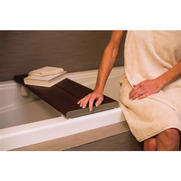 Invisia Collection 30-in Powder Coat Grey Walnut Bath Bench