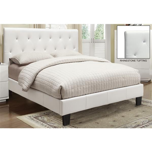 Worldwide Home Furnishings Faux Leather Crystal Tufted White 86-in x 63.50-in Platform Bed