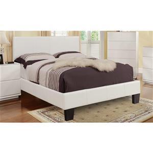 Grand lit à plateforme similicuir, blanc