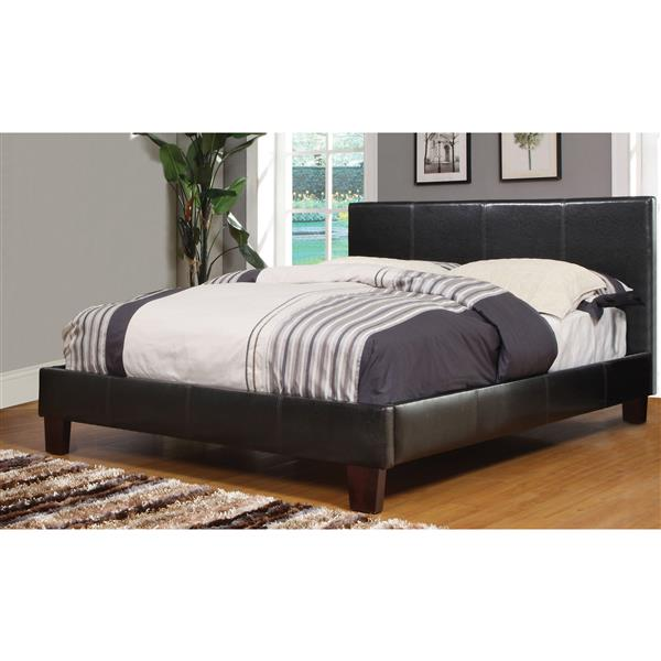 Worldwide Home Furnishings Queen Faux Brown Leather 86.50-in x 63.25-in Platform Bed