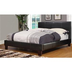 Queen Faux Leather Platform Bed - Brown