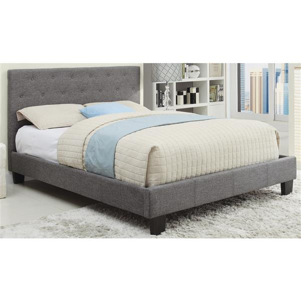 Prime Worldwide Home Furnishings Grey Tufted Upholstered Queen Platform Bed Caraccident5 Cool Chair Designs And Ideas Caraccident5Info