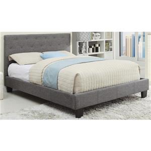 Worldwide Home Furnishings Grey 80.50-in X 57.50-in Double Tufted Upholstered Platform Bed