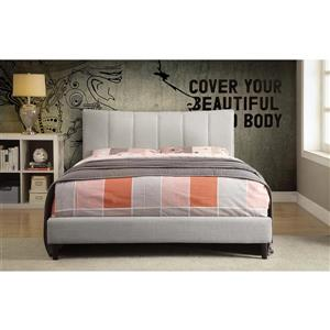 Worldwide Home Furnishings Off-White  Upholstered Queen Platform Bed
