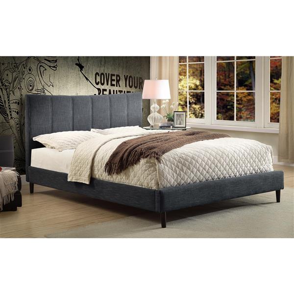 Grand lit de style platforme, gris