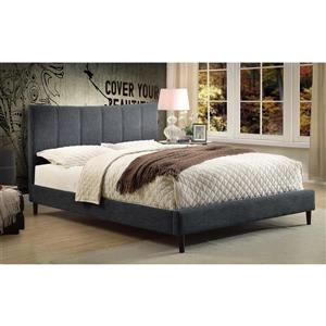 Worldwide Home Furnishings Grey Upholstered Queen Platform Bed