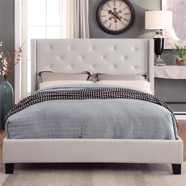 Worldwide Home Furnishings Off -White with  Nailhead Detail Queen Platform Bed