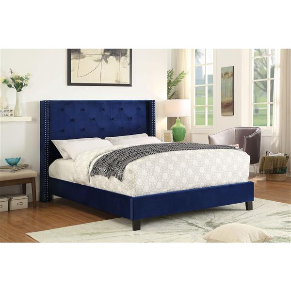 Worldwide Home Furnishings Nailhead Detail in Blue 86-in x 67.25-in Queen Platform Bed