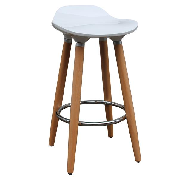Worldwide Home Furnishings !nspire White ABS Seat with Wood Base Counter Stool (Set of 2)