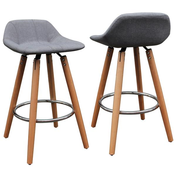 Worldwide Home Furnishings Low Back Grey Natural Legs Counter Stools (Set of 2)
