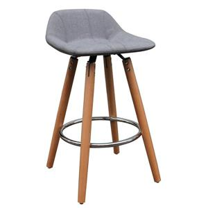 Low Back Counter Stool  - Set of 2 - Grey/Natural Legs