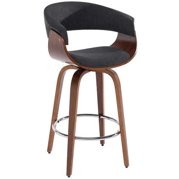 Worldwide Home Furnishings !nspire Charcoal Grey Bentwood and Fabric Counter Stool
