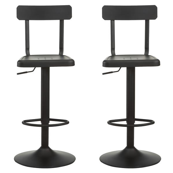 Worldwide Home Furnishings Industrial Adjustable Black Barstools (Set of 2)