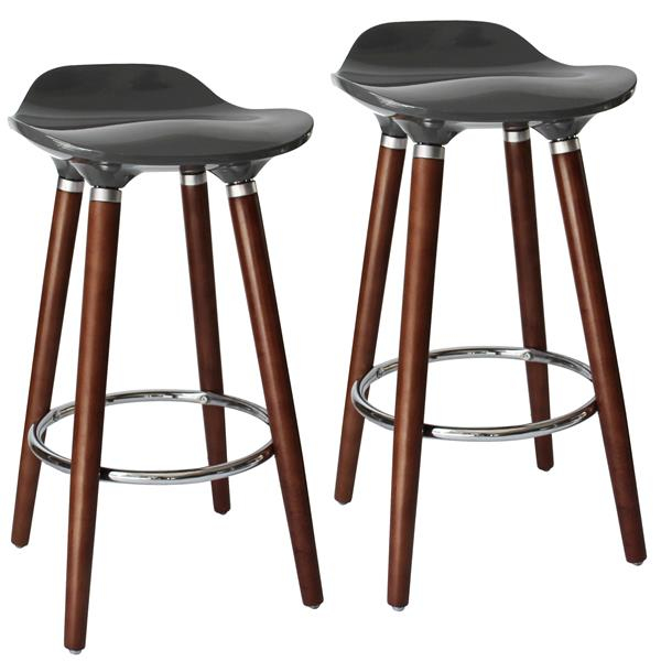 Worldwide Home Furnishings !nspire Grey ABS Seat with Wood Base Counter Stool (Set of 2)