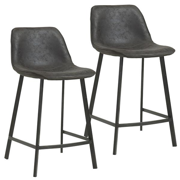 Worldwide Home Furnishings Vintage Grey Faux Suede Metal Counter Stool (Set of 2)