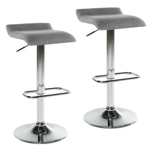 Worldwide Home Furnishings Grey Adjustable Height Fabric Stool (Set of 2)