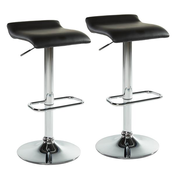 Worldwide Home Furnishings Black Adjustable Height Faux Leather Bar Stool (Set of 2)