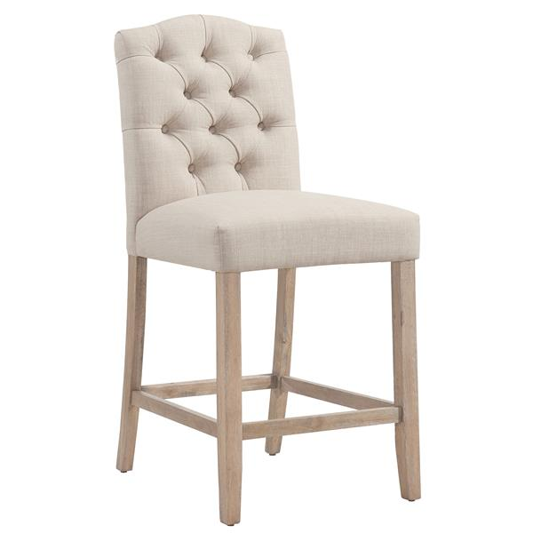Worldwide Home Furnishings !nspire Beige Button Tufted Fabric Counter Stool (Set of 2)