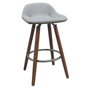 Low Back Fabric Counter Stool  - Set of 2 - Grey/Walnut Legs