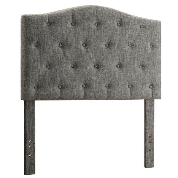 Worldwide Home Furnishings Grey Button Tufted Linen Twin Headboard
