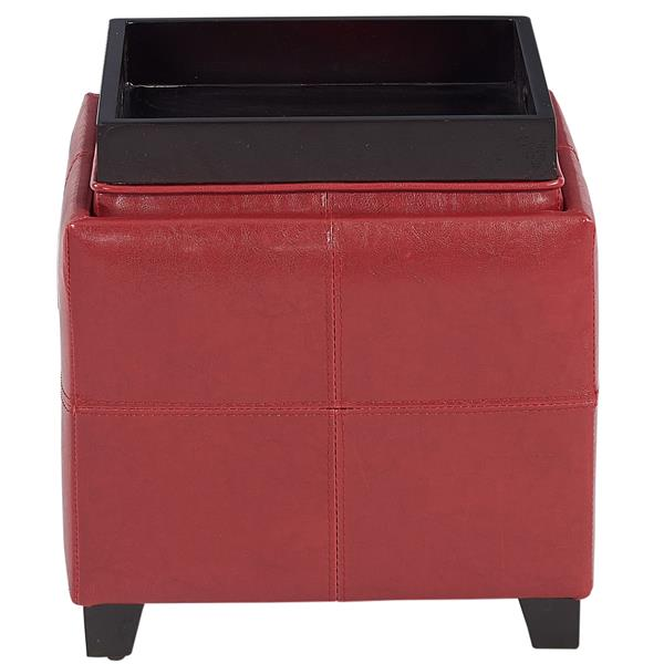 Worldwide Home Furnishings Red Faux Leather Storage Cube with Reversible Tray