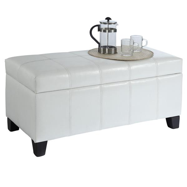Worldwide Home Furnishings White Storage Ottoman 402 449wt Rona