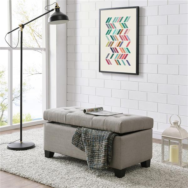 Worldwide Home Furnishings Grey Storage Ottoman