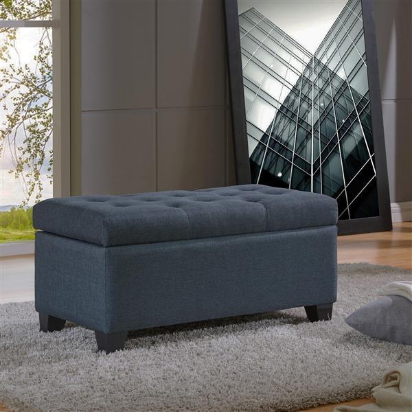 Worldwide Home Furnishings Grey and Blue Storage Ottoman