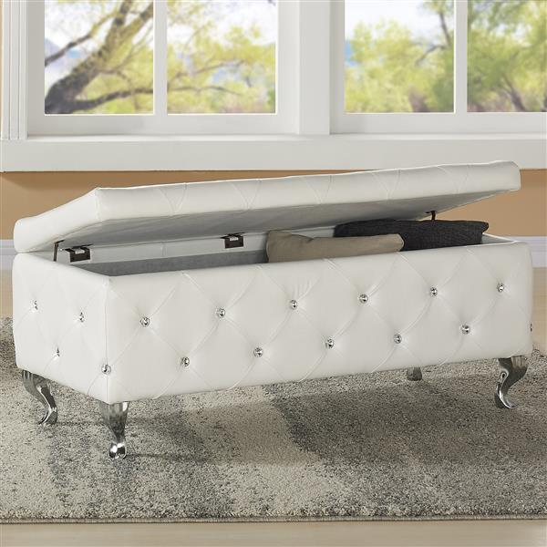 Worldwide Home Furnishings !nspire 43.25-in x 17.25-in x 18.25-in White Faux Leather Storage Ottoman