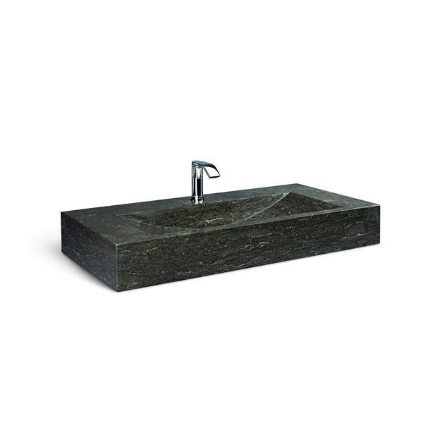 """Vanité en métal noir avec lavabo en pierre calcaire, 36"""""""