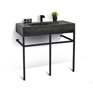 Vanité en métal noir avec lavabo en pierre calcaire, 39
