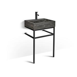 Vanité en métal noir avec lavabo en pierre calcaire, 24
