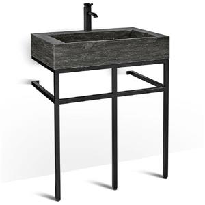 Vanité en métal noir avec lavabo en pierre calcaire, 30