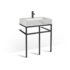 Vanité en métal noir avec lavabo en marbre gris, 30
