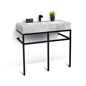 Vanité en métal noir avec lavabo en marbre gris, 39