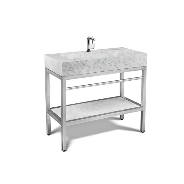 """Vanité en acier inoxydable avec lavabo en marbre gris, 36"""""""