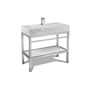 Vanité en acier inoxydable avec lavabo en marbre gris, 39