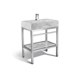 Unik Stone 30-in Stainless Steel Vanity with Marble Sink