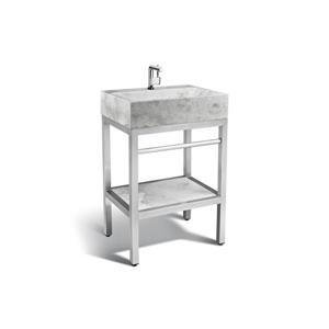 """Vanité en acier inoxydable avec lavabo en marbre gris, 24"""""""