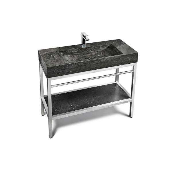 Vanité Unik Stone en acier inox  avec lavabo en pierre calcaire, 48 po