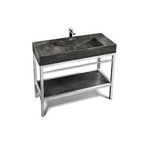 """Vanité en acier inox. avec lavabo en pierre calcaire, 48"""""""