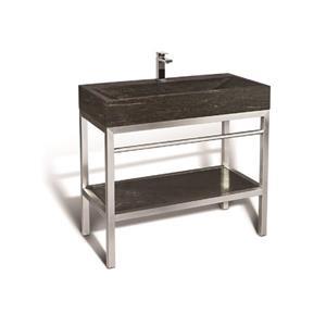 Vanité en acier inox. avec lavabo en pierre calcaire, 39