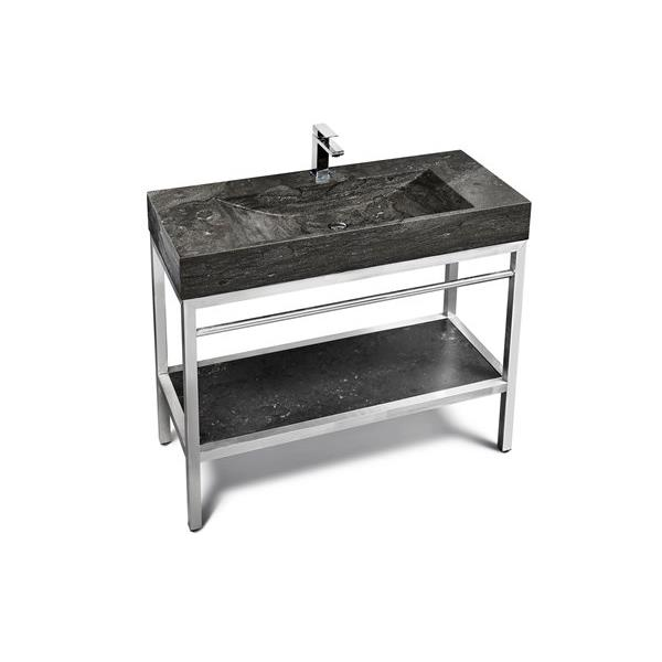 Unik Stone Stainless Steel Vanity with Double Sink - Limestone - 48-in