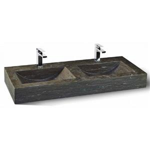 Unik Stone Stainless Steel Vanity with Double Sink - Limestone - 48-in
