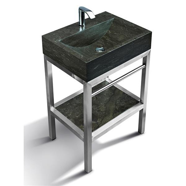 """Vanité en acier inox. avec lavabo en pierre calcaire, 24"""""""