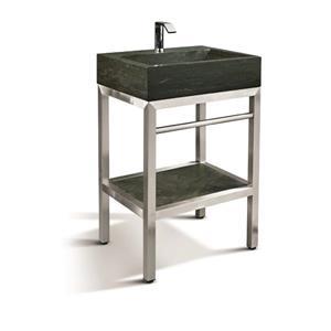 Vanité en acier inox. avec lavabo en pierre calcaire, 24