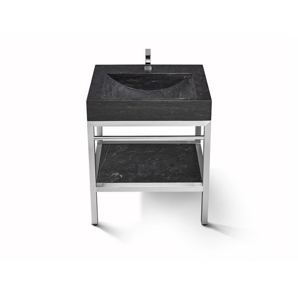 Unik Stone 30-in Stainless Steel Vanity with Limstone Sink